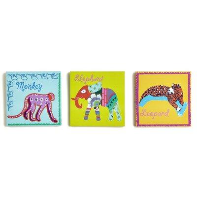 Arthouse Imagine Fun Jungle Animals Printed Canvas Art Set (Set of 3)