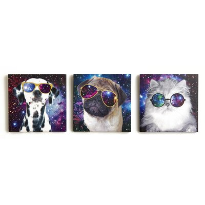 Arthouse Imagine Fun Space Animals Printed Canvas Art Set (Set of 3)
