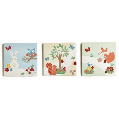 Arthouse Imagine Fun Forest Friends Printed Canvas Art (Set of 3)