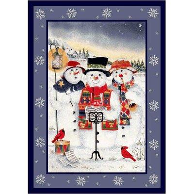 Milliken Winter Seasonal Holiday Merry Minstrels Snowman White/ Blue Area Rug