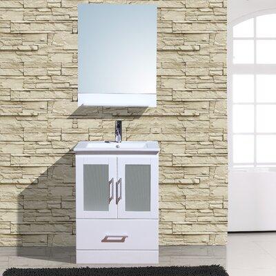 "Alva 24"" Single Bathroom Vanity with Mirror Base Finish: White"