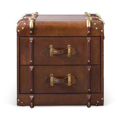 Culinary Concepts Havana Leather two Drawer Side Trunk