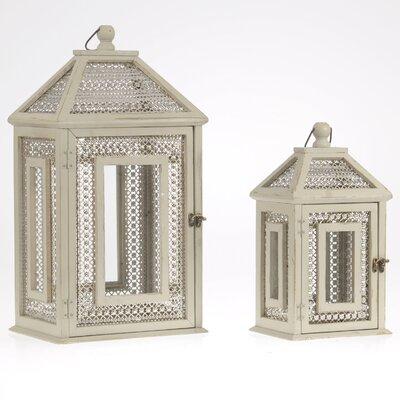 Inart 2 Piece Wooden/Metal Outdoor Lantern Set