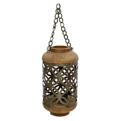 Inart Metal/Wooden Outdoor Lantern
