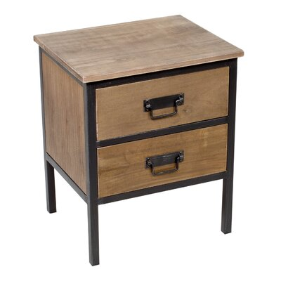 Inart 2 Drawer Bedside Table
