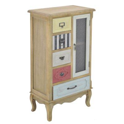 Inart 1 Door 5 Drawer Wooden Cabinet