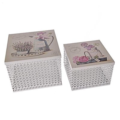 Inart 2 Piece Flower Metal Box Set