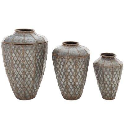 Inart 3 Piece Metal Vase Set