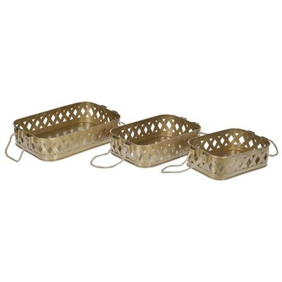 Inart 3 Piece Metal Tray Set