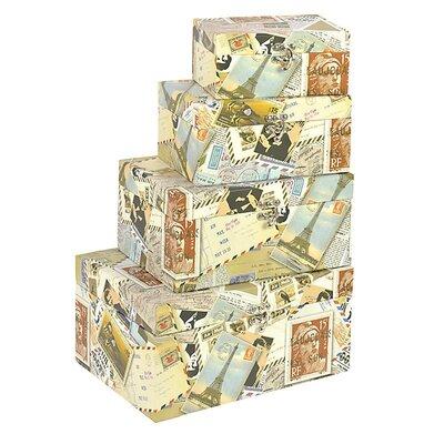 Inart 4 Piece Stamp Paper Storage Box Set