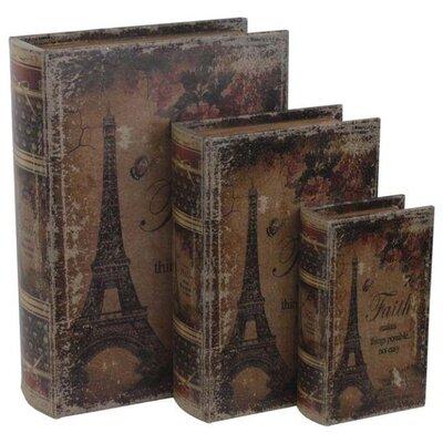 Inart 3 Piece Eiffel Leather and PU Box Set