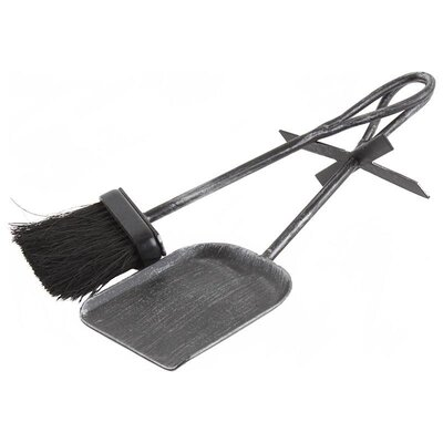 Inart 2 Piece Metal Brush And Shovel for Fireplace Set