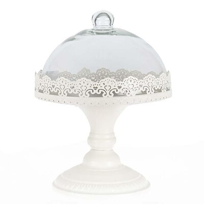 Inart Metal Cake Stand with Glass