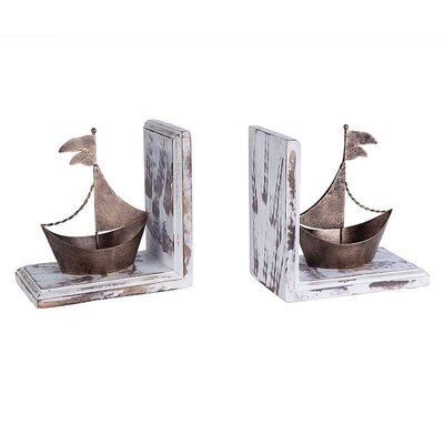 Inart Piece Metal and Wooden Ship Bookend (Set of 2)