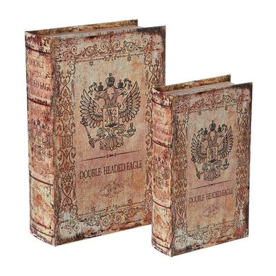 Inart 2 Piece Wooden and Canvas Book Box Set