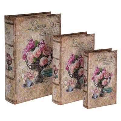 Inart 3 Piece MDF and Fabric Flower Book Box Set