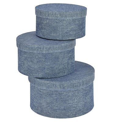 Inart 3 Piece Denim Fabric Storage Box Set