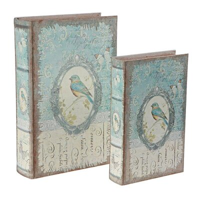 Inart 2 Piece Wooden and Linen Bird Book Box Set