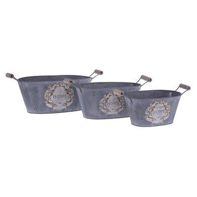 Inart 3 Piece Home Metal Basket Set