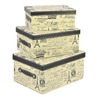 Inart 3 Piece Eiffel Fabric Storage Box Set