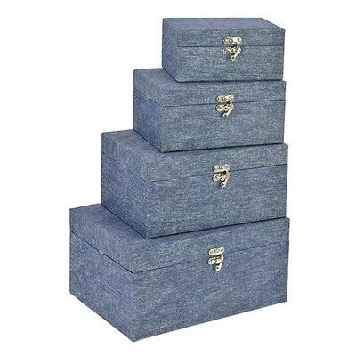 Inart 4 Piece Denim Fabric Storage Box Set
