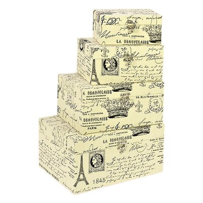 Inart 4 Piece Fabric Storage Box with Eiffel Set