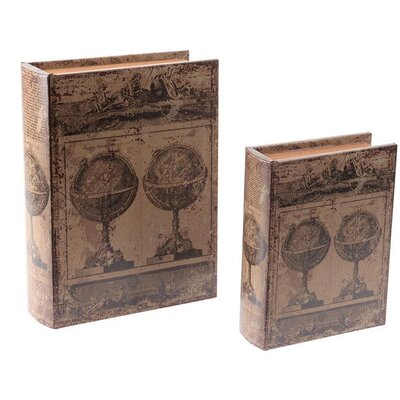 Inart 2 Piece Wooden and PU Book Box Set