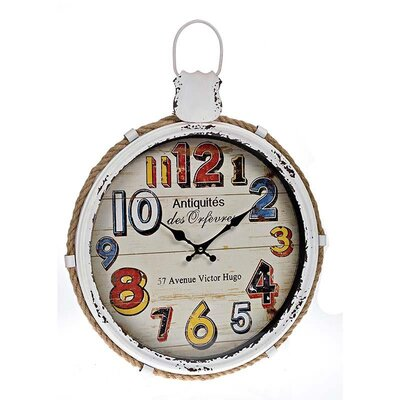 Inart 44cm Metal Wall Clock