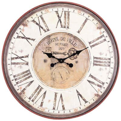 Inart 80cm Metal/MDF Hotel De Ville Wall Clock