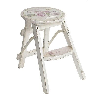 Inart Roses Wooden Stool