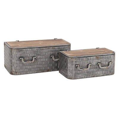 Inart 2 Piece Metal/Wooden Wall Shelf/Box Set