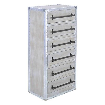 Inart Wooden/Metal 6 Drawer Chest