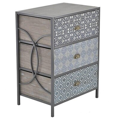 Inart Wooden/Metal 3 Drawer Chest