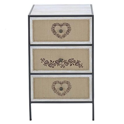Inart 3 Drawer Bedside Table