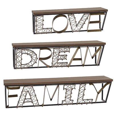Inart 3 Piece Wooden/Metal Shelf Set