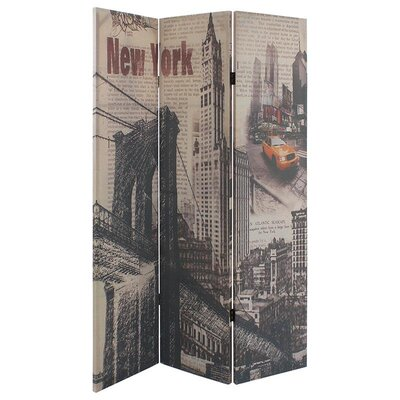 Inart 180cm x 122cm 'New York' Fabric Screen 3 Panel Room Divider