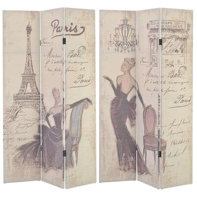 Inart 180cm x 120cm Paris Fabric Printed Screen 3 Panel Room Divider