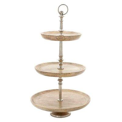 Inart Aluminium/Wooden Tiered Stand