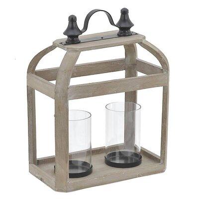 Inart Wood/Glass Lantern