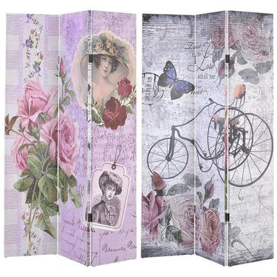 Inart 180cm x 120cm Lady/Bike Canvas Printed Screen 6 Panel Room Divider