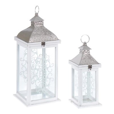 Inart 2 Piece Wood/Metal/Glass Lantern Set