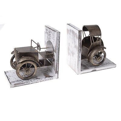 Inart Metal/Wooden Car Bookends