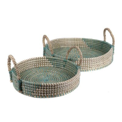 Inart 2 Piece Seagrass Tray Set