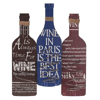Inart 3 Bottle Wall Mounted Wine Rack
