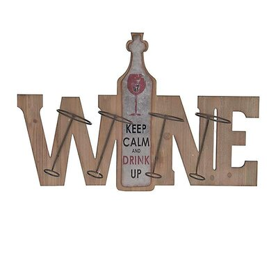 Inart 4 Bottle Wall Mounted Wine Rack
