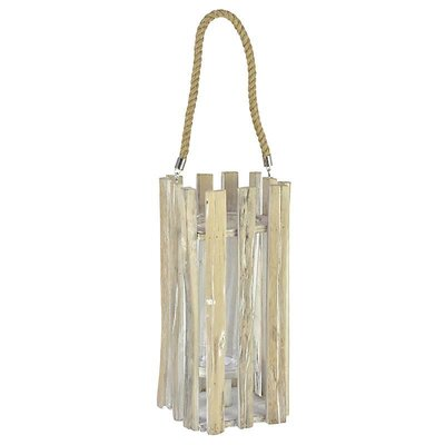 Inart Wooden/Glass/Polyester Lantern