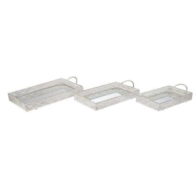 Inart 3 Piece Metal Mirrored Tray Set