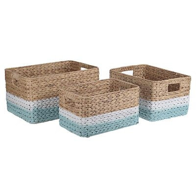 Inart 3 Piece Water Hyacinth Basket Set