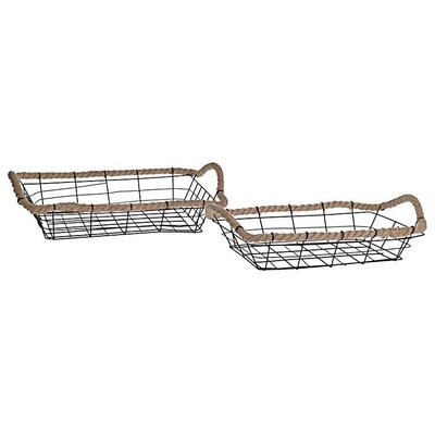 Inart 2 Piece Rope Metal Basket Set