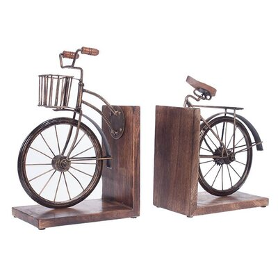 Inart Piece Metal and Wooden Bike Bookend (Set of 2)